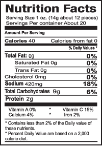 Teriyaki Pickled Garlic Nutrition Information