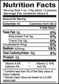 Teriyaki Pickeld Garlic Small Nutrition Information