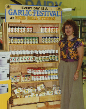 Caryl in the early days of Garlic Festival Foods