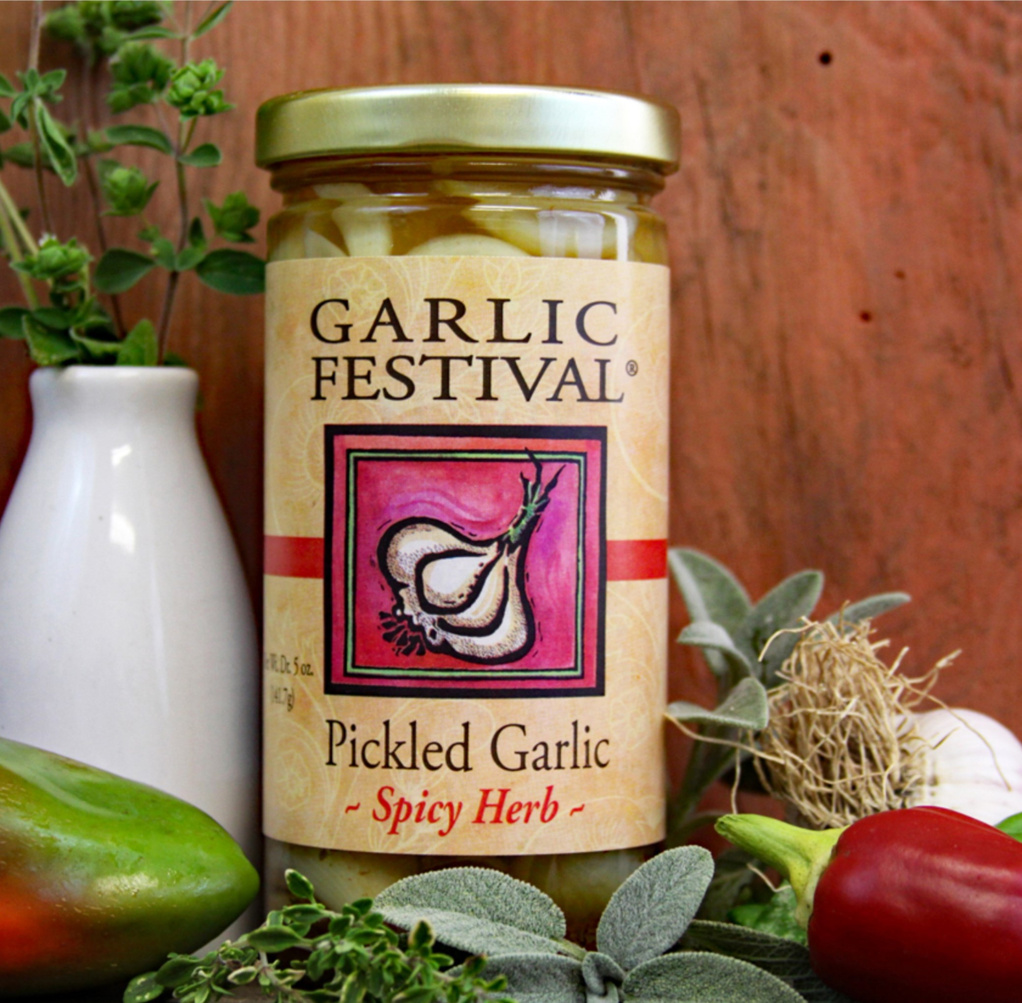 Spicy Herb Pickled Garlic