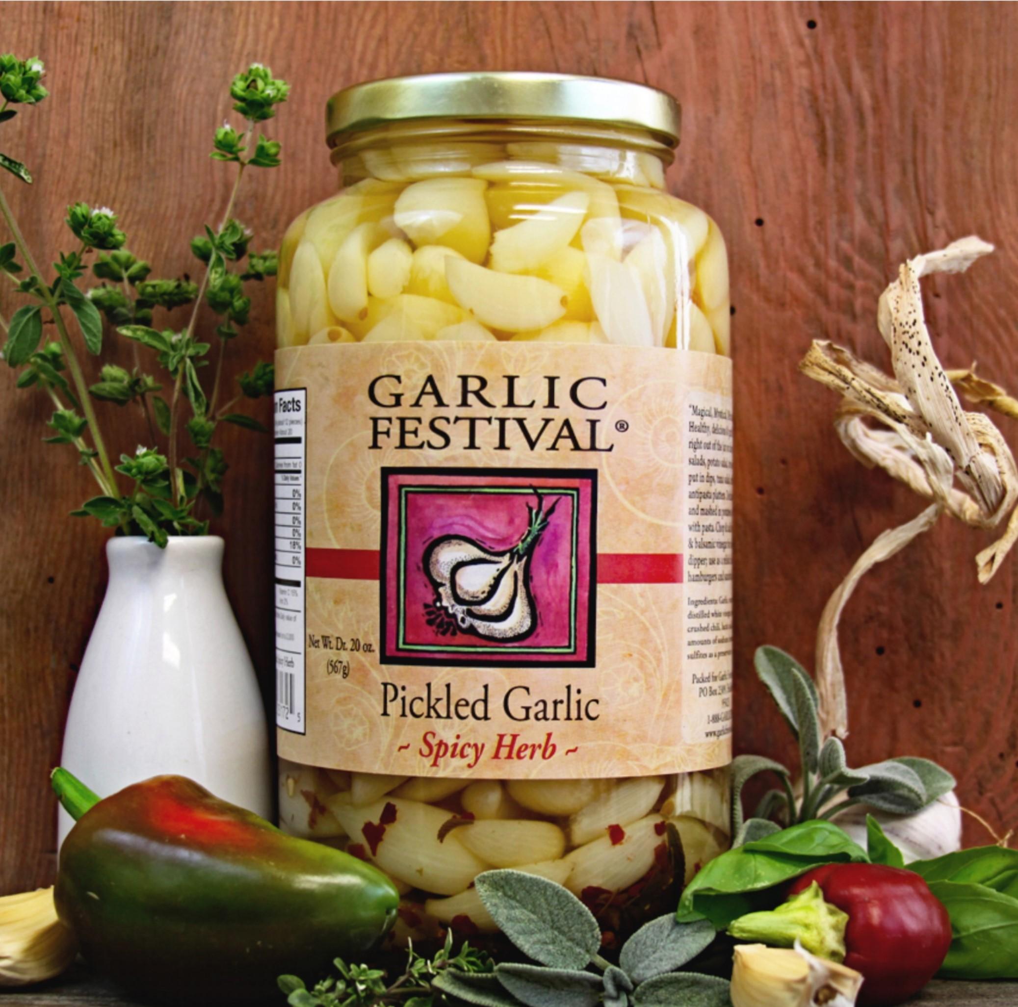 Spicy Herb Pickled Garlic Quart
