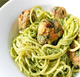 Garlic Festival Foods Pesto Meatballs Recipe