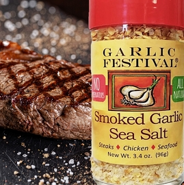 Garlic Festival Foods Grilled Steak With Roasted Garlic & Sea Salt Recipe