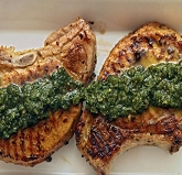Garlic Festival Pesto Pork Chops