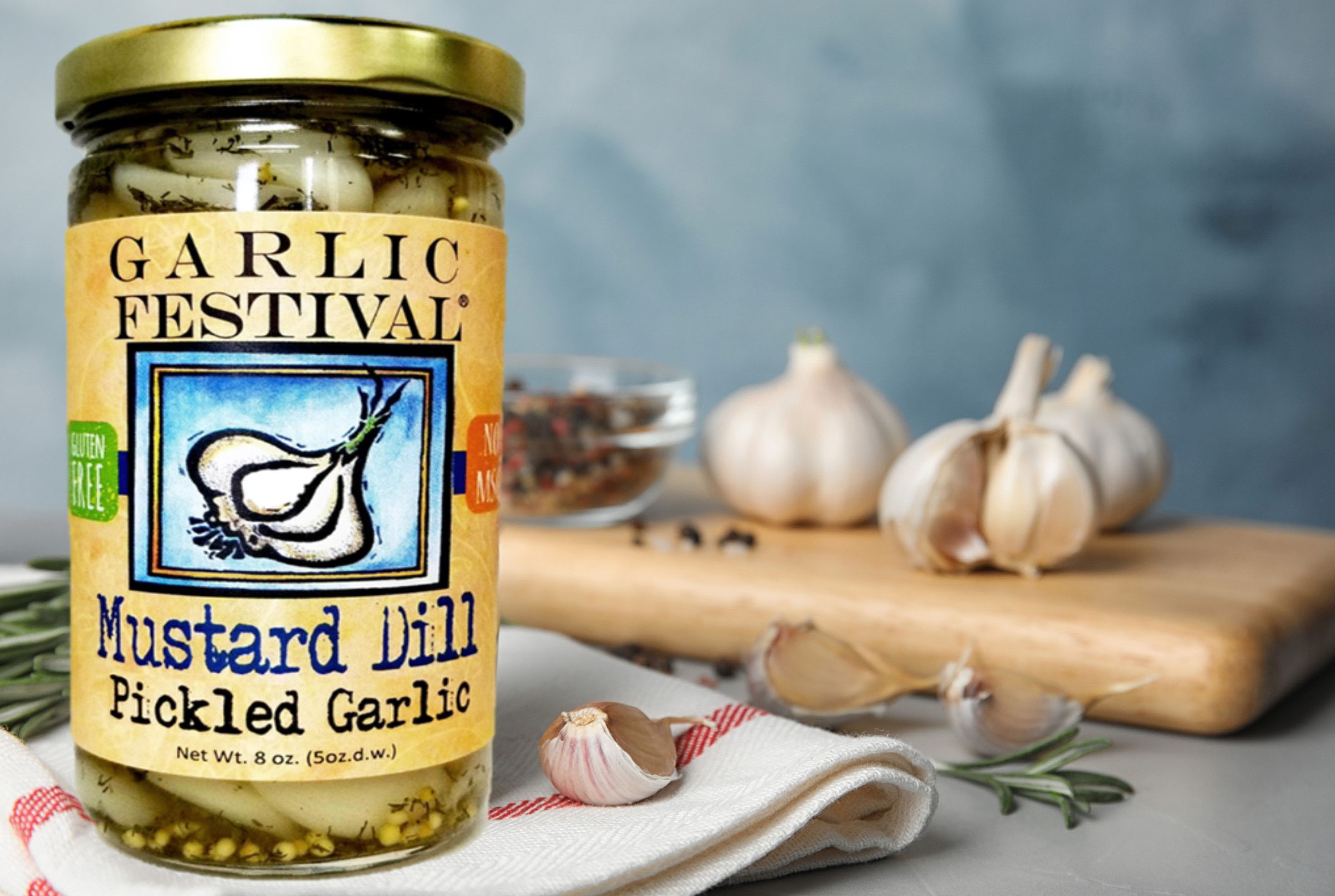 Mustard Dill Pickled Garlic 8oz.